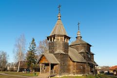 Suzdal, Russia - November 06, 2015.    Museum Wooden Architecture in  golden Stock Photos