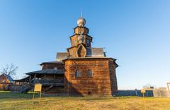 Suzdal, Russia - November 06, 2015.    Museum Wooden Architecture in  golden - stock photo