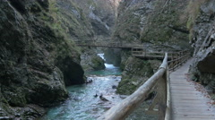 Beautiful view of the wooden bridge in Vintgar gorge in Bled Stock Footage