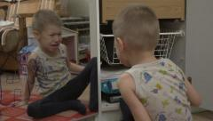 Child boy crying bitterly Stock Footage