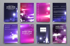 Set of brochure, poster design templates in Mardi Gras style - stock illustration