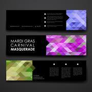 Set of modern design banner template in Mardi Gras style - stock illustration