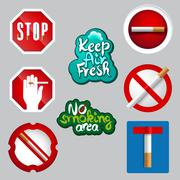 realistic no smoking icon set - stock illustration