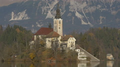 Amazing view of Pilgrimage Church of the Assumption of Maria, Bled - stock footage