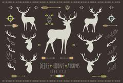 Rustic Antlers. Set silhouettes of rustic antler designs Stock Illustration