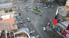 High angle view cityscape and traffic road near Ben Thanh Market Stock Footage