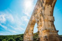 Part detail of famous landmark ancient old Roman aqueduct of Pon Stock Photos