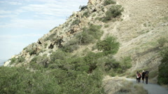 Wide shot of four people hiking on a gravel trail beside a desert mountain. Stock Footage