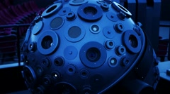 Projector in Planetarium, digital projection system, handheld shot Stock Footage