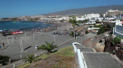 Stairway leads to the Torviscas and Fanabe beaches, Costa Adeje, Tenerife Stock Footage