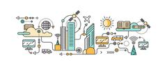 Smart Technology in Infrastructure of the City - stock illustration