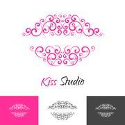 Beauty salon kiss lips brand concept - stock illustration