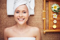 Satisfied with spa Stock Photos