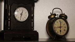 Old clock on the table Stock Footage
