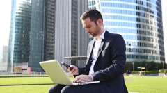 Businessman networking Stock Footage