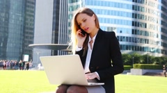 Businesswoman networking Stock Footage