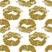 Seamless pattern with gold glitter lips prints on white background - stock illustration