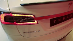 The Tesla Model S, rear view Stock Footage