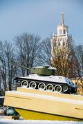 Old soviet tank like monument in Gomel, Belarus - stock photo