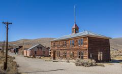 Old School in Bodie State Historic Park - stock photo
