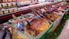 Spanish jamon in Mercadona shop, Tenerife Stock Footage