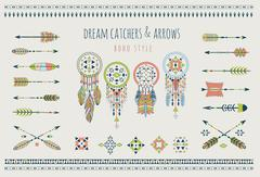 Stock Illustration of Set of arrows, dream catchers, Indian elements