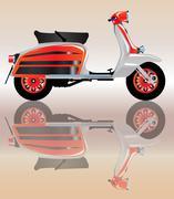 Mod Scooter Reflection Stock Illustration