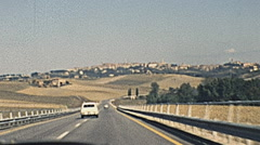 Italy 1974: driving on a freeway Stock Footage