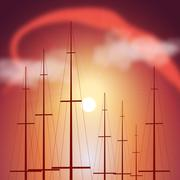 Stock Illustration of Tops of yacht masts at sunset
