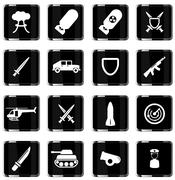 Military simply icons Stock Illustration