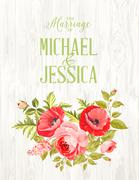 Marriage invitation card - stock illustration