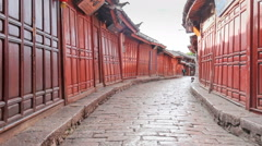 Lijiang old town streets in the morning, Yunnan China. Stock Footage