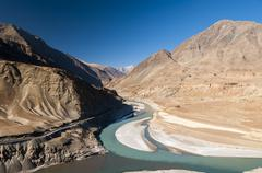 Zanskar river joining Indus river in Ladakh,  India Stock Photos