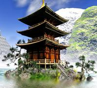 Buddhist Temple in rocky mountains - stock illustration
