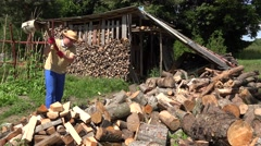 Worker man in blue and yellow clothes prepare firewood. 4K Stock Footage