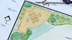 Landscape architect design L shape garden plan, panning right Stock Footage