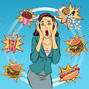 Fast food woman unhealthy diet panic Stock Illustration