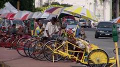 Rickshaws in Penang Malaysia Stock Footage