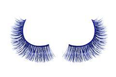 Blue false eyelash isolated on white background - stock photo