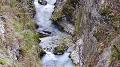 Blue river flowing between Slovenian alps view from above 4K Stock Footage