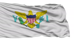 Isolated Waving National Flag of United States Virgin Islands - stock footage