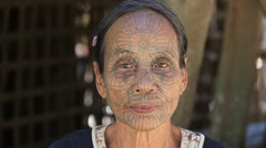 Portrait tribe tattooed Chin woman . Mrauk U, Myanmar Stock Footage