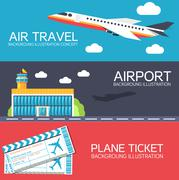 Flat building airport with flying plane tour and ticket concept banners or card Stock Illustration