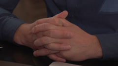 Men's hands clasped in the lock, close-up Stock Footage