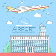 Stock Illustration of flat building airport with flying plane tour concept background.  Vector