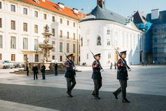Changing of the guard of honor guards at the Presidential Palace - stock photo