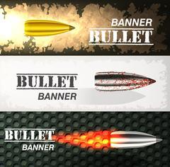 Banner of flying bullet ob military background concept. Danger vector Piirros
