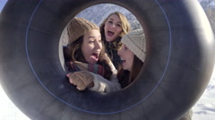 Friends Pose With Sled, They Make Funny Faces, And They Peek Around The Side Stock Footage