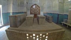 Tombs in Gumbazi Saidon Mausoleum, Dorut Tilovat Complex, Shakhrisabz - stock footage