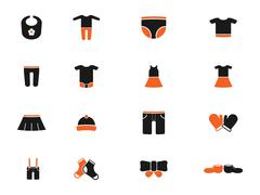 Baby clothes simply icons Stock Illustration